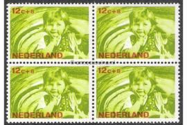 Nederland NVPH 871 Postfris (12 + 8 cent) (Blokje van vier) Kinderzegels, levensstadia kinderen 1966