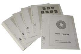 Lindner Inhouden / T-Voordruk albumbladen met folie voorbladen met stroken (Inhoud) China-Taiwan (Formosa) 1945-1960 (incl. Portzegels 1948-1998) (37 bladen) (Lindner 164-45)