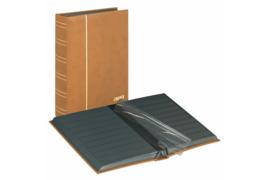 Lindner Insteekalbum Luxe/Luxus Nubuk (60 blz.) Zwarte bladen/Bruine kaft (Lindner 1181-H)