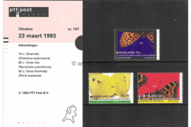 Nederland NVPH M107 (PZM107) Postfris Postzegelmapje Natuur en Milieu, vlinders 1993