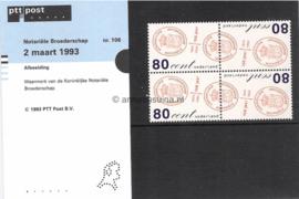 Nederland NVPH M106 (PZM106) Postfris Postzegelmapje 150 jaar Notarieel Broederschap 1993