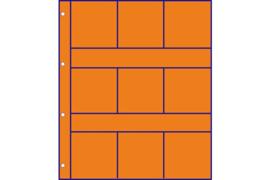 Hartberger GMO9R Oranje tussenbladen met ruiten (voor tussen GM9 Munthouder bladen) (per stuk)