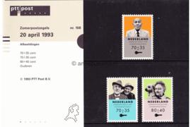 Nederland NVPH M108 (PZM108) Postfris Postzegelmapje Zomerzegels, ouderenzegels 1993