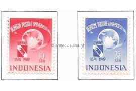Indonesië Zonnebloem 13-14 / NVPH 372-373 Postfris Jubileumzegels Wereldpostvereniging 1949