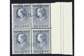 Nederland NVPH D37 Gestempeld (Met velrand Rechts) (20 cent) (Blokje van vier) COUR INTERNATIONALE DE JUSTICE 1951-1958