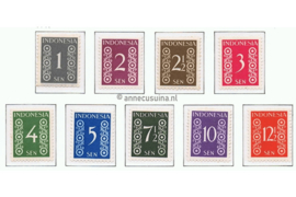 Indonesië Zonnebloem 15-23 / NVPH 362-370 Postfris Cijfertype 1949
