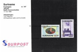 Republiek Suriname Zonnebloem Presentatiemapje PTT nr 107 Postfris Postzegelmapje 100 Jaar Radio Communicatie 1996