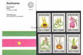 Republiek Suriname Zonnebloem Presentatiemapje PTT nr 1 Postfris Postzegelmapje Surinaamse orchideeën 1984