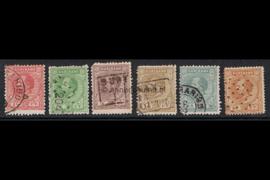 NVPH 3A, 4A, 5A, 6A, 10aA en 13A Gestempeld FOTOLEVERING Koning Willem III Lijntanding 14 kl.g. 1870-1872