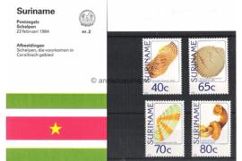 Republiek Suriname Zonnebloem Presentatiemapje PTT nr 2 Postfris Postzegelmapje Schelpen 1984
