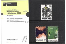 Nederland NVPH M105 (PZM105) Postfris Postzegelmapje Jubileumzegels, Artillerie, EHBO en Landbouwuniversiteit Wageningen 1993
