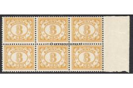 Suriname NVPH 74 Postfris FOTOLEVERING (3 cent) (Blokje van zes) Cijfer 1913-1931