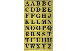 Velletje zwarte lettertjes op goud rechthoekje (vet lettertype)