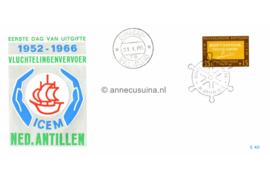 Nederlandse Antillen NVPH E40 (E40a; Scheepje tussen handen) I.C.E.M. Vluchtelingen 1966