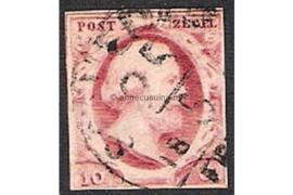 Nederland NVPH 2  Gestempeld FOTOLEVERING (10 cent) 1e emissie Koning Willem III 1852