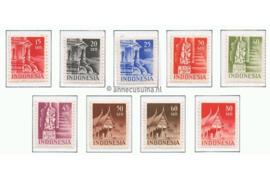 Indonesië Zonnebloem 24-32 / NVPH 374-382 Postfris Gebouwen / Tempels en Woningen 1949