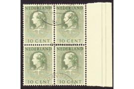 Nederland NVPH D34 Gestempeld (Met velrand Rechts) (10 cent) (Blokje van vier) COUR INTERNATIONALE DE JUSTICE 1951-1958
