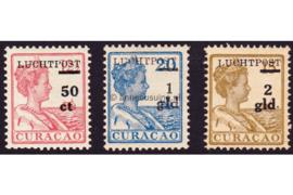 Curaçao NVPH LP1-LP3 Postfris Hulpuitgifte Opdruk Luchtpost en waarde in zwart op frankeerzegels der uitgifte 1915-1926 1929