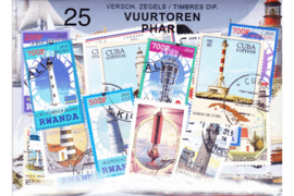 Importa Postzegelpakket VUURTORENS (25 verschillende zegels)