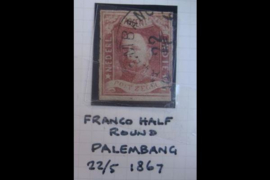 PALEMBANG 22/5/1867 Halfrond-franco (Type A) op de NVPH 1 (SvL 80) (1864-1e emissie Koning Willem III)