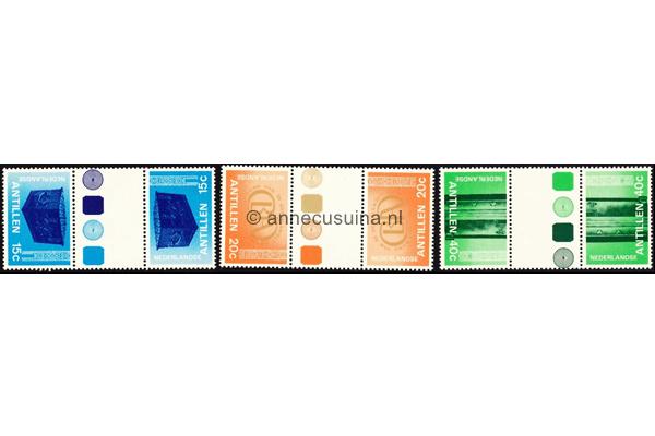 Nederlandse Antillen NVPH 573a-575a Postfris FOTOLEVERING Keerdrukken MET KLEURSYMBOLEN 150 jaar Bank van de Nederlandse Antillen 1978