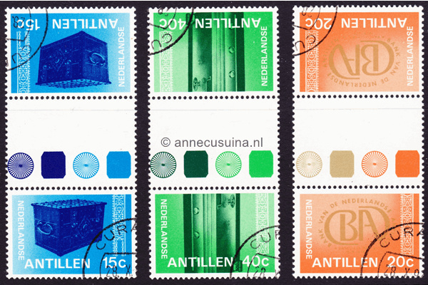 Nederlandse Antillen NVPH 573a-575a Gestempeld FOTOLEVERING Keerdrukken 150 jaar Bank van de Nederlandse Antillen 1978