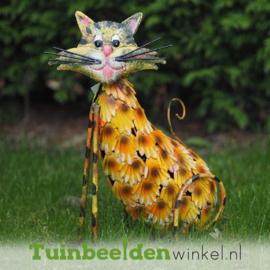 """Metalen tuinbeeld figuur """"De fleurige kat"""" TBW15284me"""