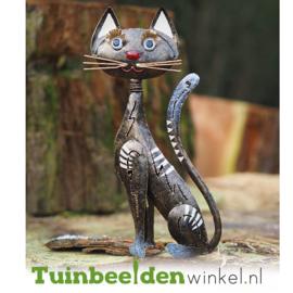 Metalen tuinbeeld figuur ''De charmante kat'' TBW16044
