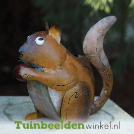 """Metalen tuinbeeld figuur """"De etende eekhoorn"""" TBW16024me"""