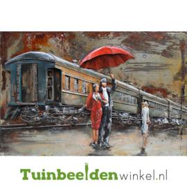 """Metalen schilderij """"Stelletje op station"""" TBW000848 80x120 cm"""