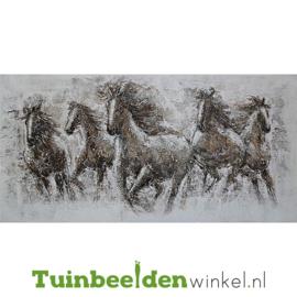 Olieverf schilderij dieren ''De wilde paarden'' TBW010073