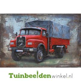 """Metalen schilderij """"De rode vrachtauto"""" TBW000742 80x120 cm"""