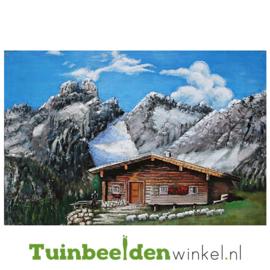 """Metalen schilderij """"Huisje in de bergen"""" TBW001433 80x120 cm"""