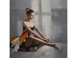 """Olieverf schilderij """"De zittende ballerina"""" TBW3361sc  100x100 cm"""