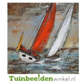 """Boten schilderij """"Zeilboten in actie"""" TBW001182 100x100 cm"""