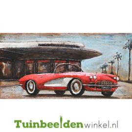 Metalen schilderij ''De rode sportauto'' TBW001509