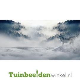 """Schilderij van RVS """"Wolven in de mist"""" TBW015sc"""