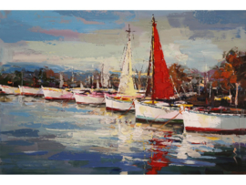 "Boot schilderij ""Boten in de haven"" TBW3825sc"