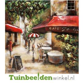 """Metalen schilderij """"Het kleine café"""" TBW000357 60x60 cm"""