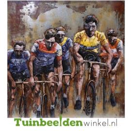 "Metalen schilderij ""De fanatieke wielrenners"" TBW000753"