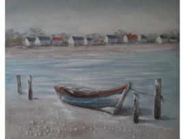 Olieverf schilderij ''Verlaten sloep'' TBW60006sc