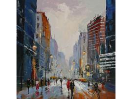 Olieverf schilderij ''Stadsleven'' TBW006267sc