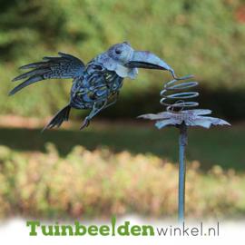 Metalen tuinbeeld figuur ''De blauwe kraai'' TBW17997