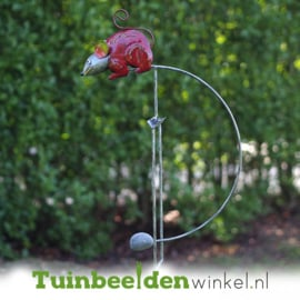 Metalen tuinbeeld figuur ''De rode rat'' TBW16113