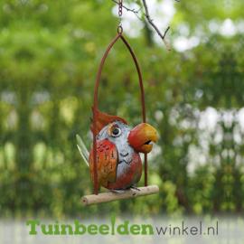 """Metalen tuinbeeld figuur """"Het eenzame papegaaitje"""" TBW16037me"""