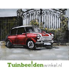 Metalen schilderij ''De rode mini cooper'' TBW001328