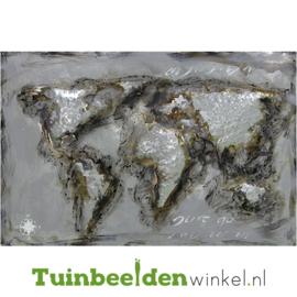 """Wereldkaart schilderij """"De grijze wereldkaart"""" TBW80120037sc"""