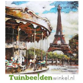 """Metalen schilderij """"Draaimolen in Parijs"""" TBW001243"""