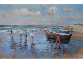 Olieverf schilderij ''Mooie stranddag'' TBW006495sc