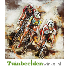 "Metalen schilderij ""De drie wielrenners"" TBW000172"